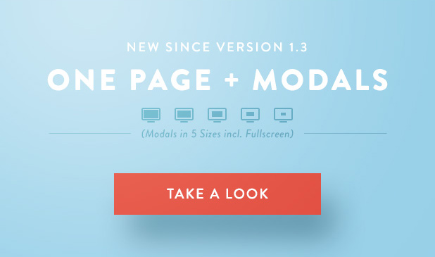 NEW since Version 1.3: One Page and Modals in 5 Sizes incl. Fullscreen