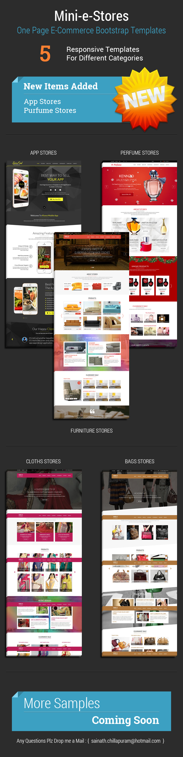 Mini-E-Stores - One page multi-purpose e-commerce templates
