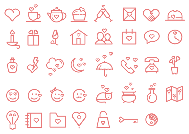 love icon font set
