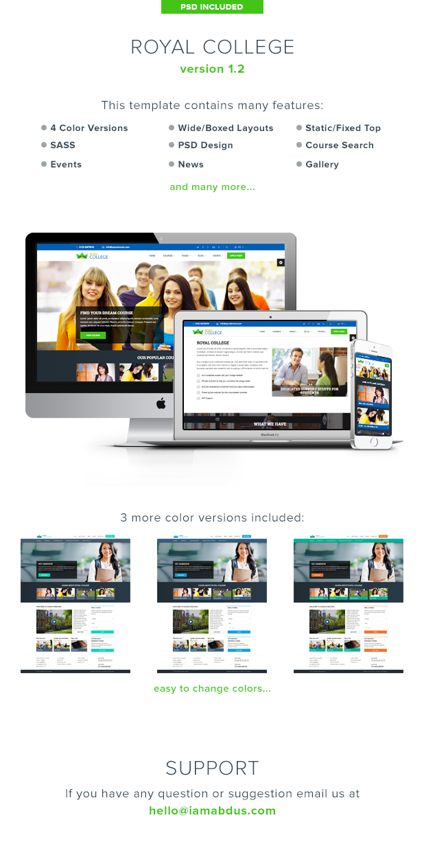 Royal College - Education Bootstrap Template for College University