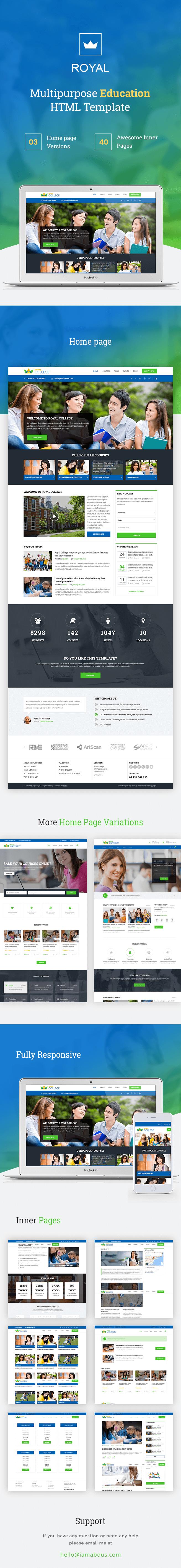Royal - Education Bootstrap Template for College University Course