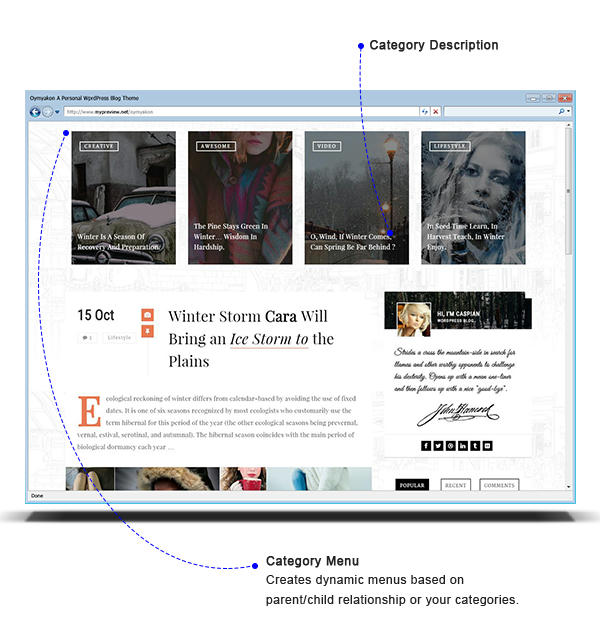 Oymyakon WordPress Theme - Category Menu