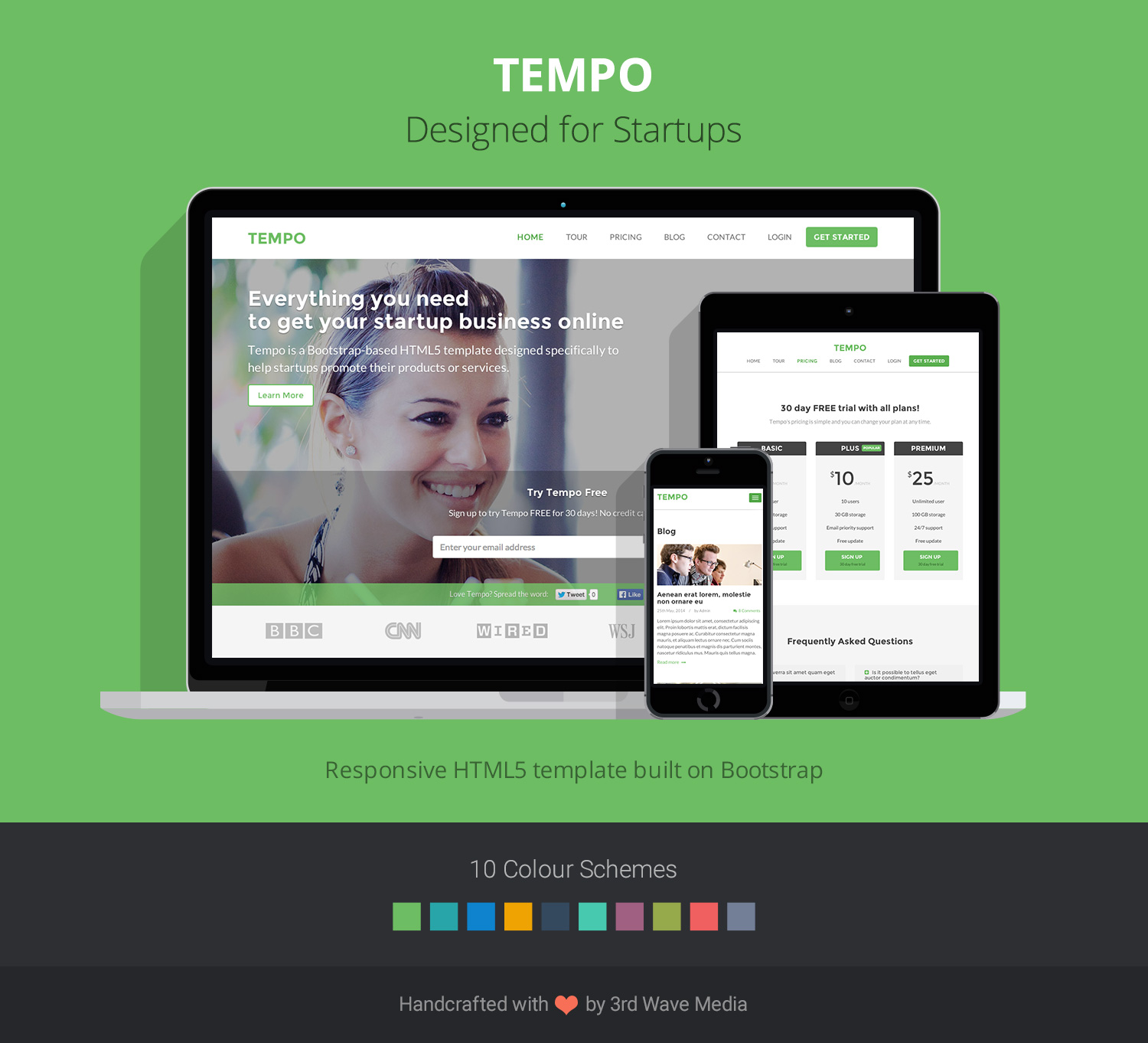 Tempo - Responsive HTML5 website template for startups